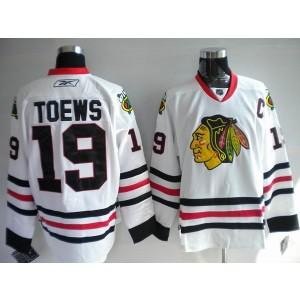 NHL Blackhawks 19 Jonathan Toews White Men Jersey