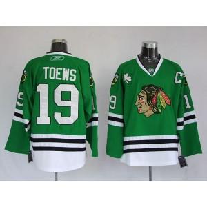 NHL Blackhawks 19 Jonathan Toews Green Men Jersey