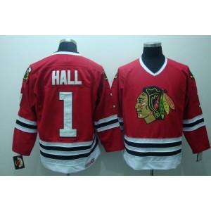 NHL Blackhawks 1 Glenn Hall Red CCM Throwback Men Jersey