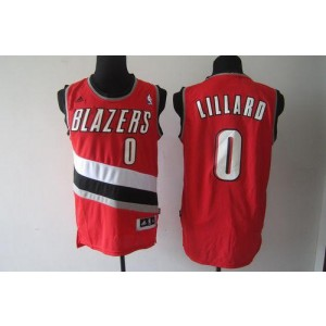 NBA Blazers 0 Damian Lillard Red Men Jersey