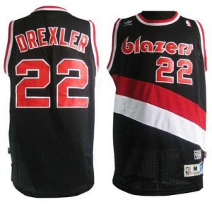 NBA Blazers 22 Clyde Drexler Black Soul Swingman Throwback Men Jersey