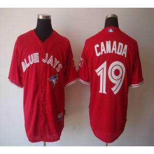 MLB Blue Jays 19 Jose Bautista Red Canada Day Men Jersey