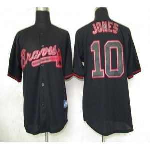 MLB Braves 10 Chipper Jones Black Fashion Men Jersey