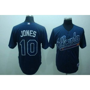 MLB Braves 10 Chipper Jones Blue Practise Men Jersey