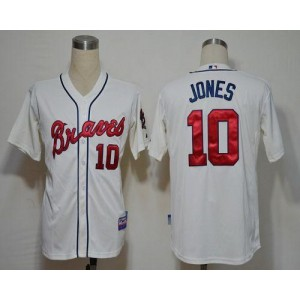 MLB Braves 10 Chipper Jones Cream Cool Base Men Jersey