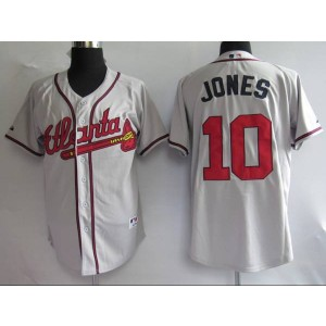 MLB Braves 10 Chipper Jones Grey Men Jersey