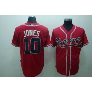 MLB Braves 10 Chipper Jones Red Men Jersey