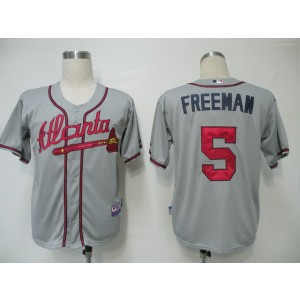 MLB Braves 5 Freddie Freeman Grey Cool Base Men Jersey