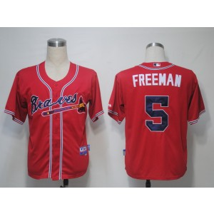 MLB Braves 5 Freddie Freeman Red Cool Base Men Jersey