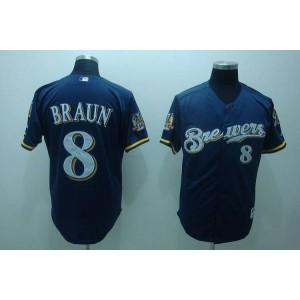 MLB Brewers 8 Ryan Braun Blue Men Jersey