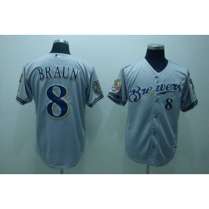MLB Brewers 8 Ryan Braun Grey Men Jersey