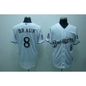 MLB Brewers 8 Ryan Braun White Men Jersey