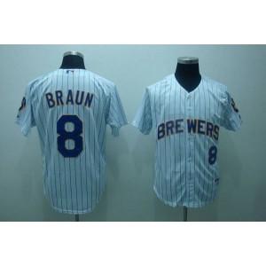 MLB Brewers 8 Ryan Braun White Blue Strip Men Jersey