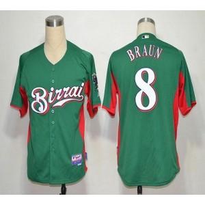 MLB Brewers 8 Ryan Braun Green Birrai Cool Base Men Jersey