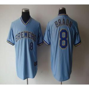 MLB Brewers 8 Ryan Braun Light Blue Cooperstown Men Jersey