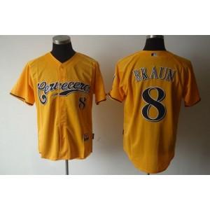 MLB Brewers 8 Ryan Braun Yellow Cerveceros Cool Base Men Jersey