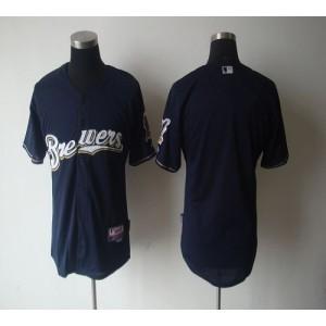 MLB Brewers Blank Blue Cool Base Men Jersey