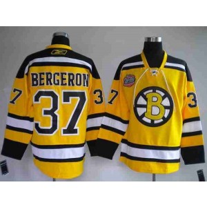 NHL Bruins 37 Patrice Bergeron Winter Classic Yellow Men Jersey