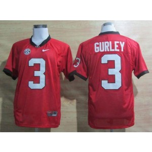 NCAA Georgia Bulldogs 3 Todd Gurley Red SEC Patch China Men Jersey
