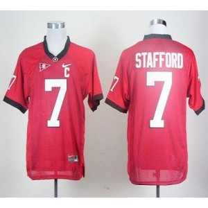 NCAA Georgia Bulldogs 7 Matthew Stafford Red With C Patch Men Jersey
