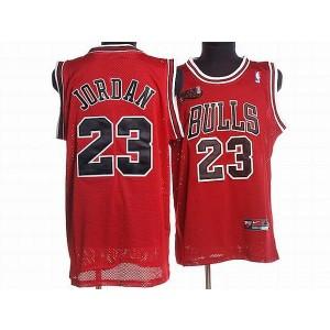 NBA Bulls 23 Michael Jordan Red Champion Patch Men Jersey