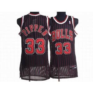 NBA Bulls 33 Scottie Pippen Black Red Strip Men Jersey