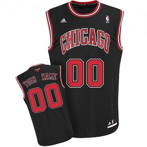 NBA Bulls Black Customized Men Jersey