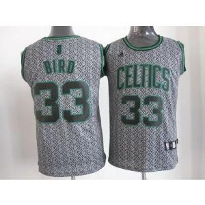 NBA Celtics 33 Larry Bird Grey Static Men Jersey