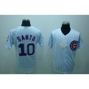 MLB Cubs 10 Ron Santo White Men Jersey