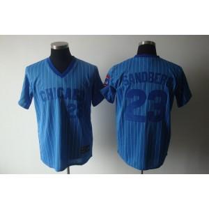 MLB Cubs 23 Ryne Sandberg Blue White Strip Cooperstown Throwback Men Jersey