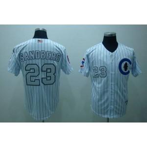 MLB Cubs 23 Ryne Sandberg 3-Patch White Men Jersey