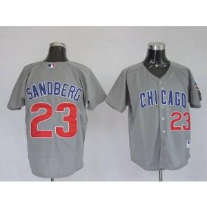 MLB Cubs 23 Ryne Sandberg Grey Men Jersey