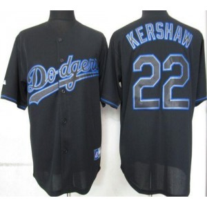 MLB Dodgers 22 Clayton Kershaw Black Fashion Men Jersey