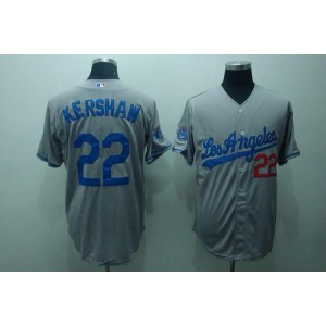 MLB Dodgers 22 Clayton Kershaw Grey Men Jersey