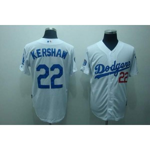 MLB Dodgers 22 Clayton Kershaw White Men Jersey