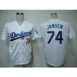 MLB Dodgers 74 Kenley Jansen White Cool Base Men Jersey