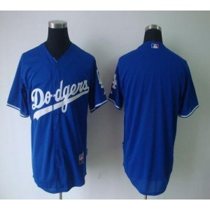 MLB Dodgers Blank Blue Cool Base Men Jersey