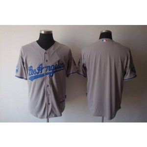 MLB Dodgers Blank Grey 50th Anniversary Dodger Stadium Patch Men Jersey