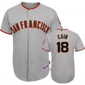 MLB Giants 18 Matt Cain Grey Men Jersey