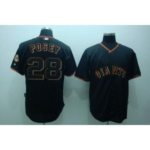 MLB Giants 28 Buster Posey Black Men Jersey
