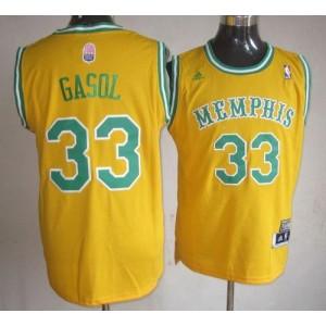 NBA Grizzlies 33 Marc Gasol Yellow ABA Hardwood Classic Men Jersey