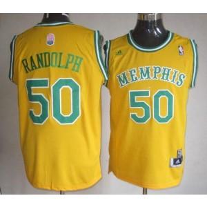 NBA Grizzlies 50 Zach Randolph Yellow ABA Hardwood Classic Men Jersey