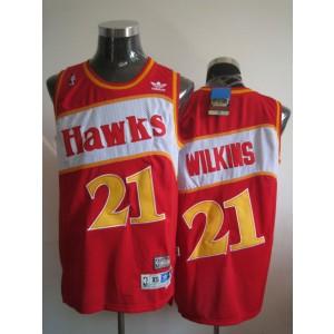NBA Hawks 21 Dominique Wilkins Red Throwback Men Jersey