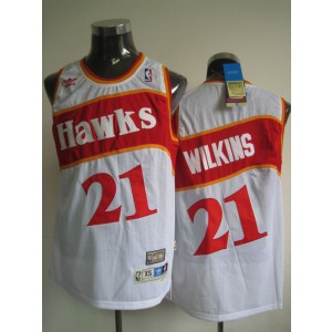 NBA Hawks 21 Dominique Wilkins White Throwback Men Jersey