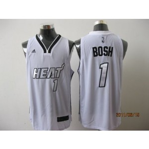 NBA Heat 1 Chris Bosh White Silver Number Men Jersey