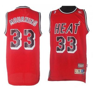 NBA Heat 33 Mourning Red Throwback Men Jersey