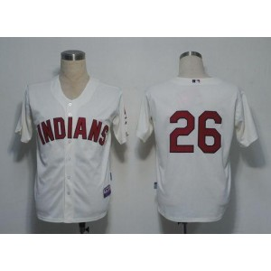 MLB Indians 26 Austin Kearns Cream Cool Base Men Jersey