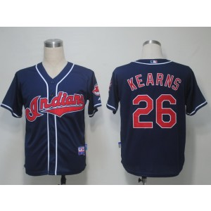 MLB Indians 26 Austin Kearns Navy Blue Cool Base Men Jersey