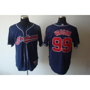 MLB Indians 99 ricky vaughn Navy Blue Cool Base Men Jersey