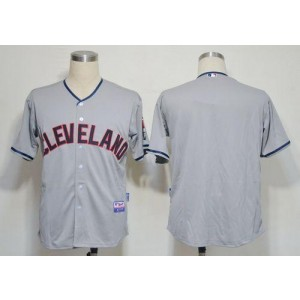 MLB Indians Blank Grey Cool Base Men Jersey